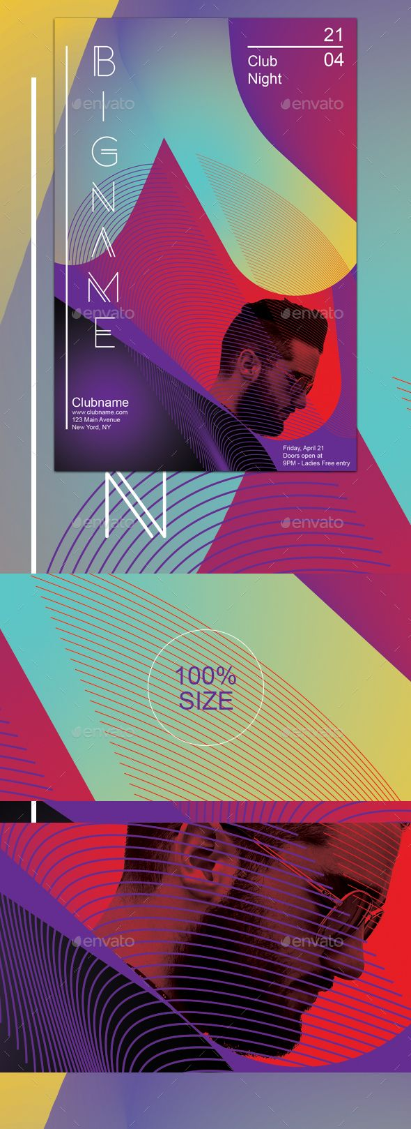 Modern geometric party flyer template - Events Flyers