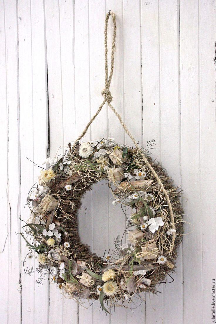 Купить Интерьерный венок - бежевый, белый, весна, Пасха, пасхальный венок, пасхальный декор