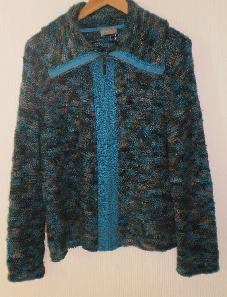 Per Una Multi Coloured Zip up Knit Jacket Cardigan Jumper Top Size M 12-14
