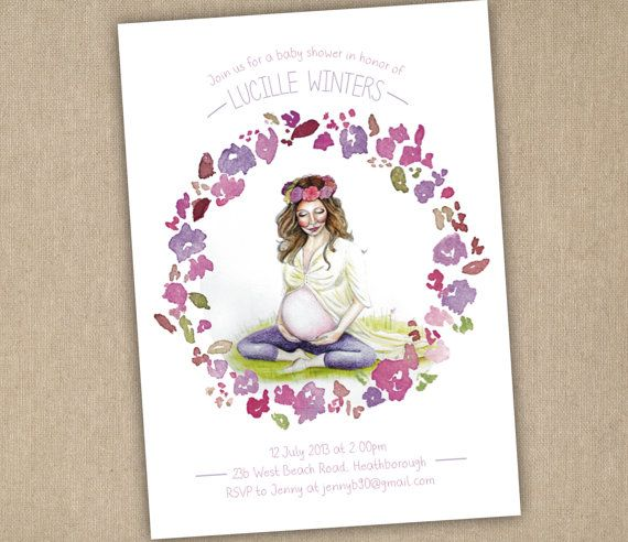 Baby Shower Invitation  Pregnant Mommy with by SixDaysCreations