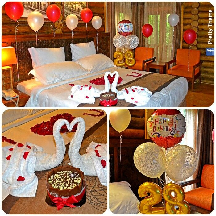 Romantic decorated hotel room for his her birthday for Room decor ideas for husband birthday