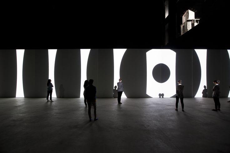 Carsten Nicolai  unidisplay, 2012 Installation view HangarBicocca, Milan Photo: Agostino Osio Courtesy Fondazione HangarBicocca, Milan www.hangarbicocca.org