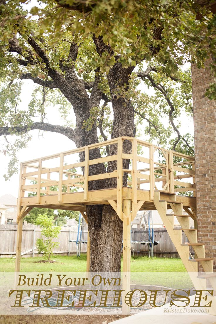 Someday...... Build Your Own Treehouse, how we built it for backyard play for kids KristenDuke.com DIY #buildyourowndeck #backyardlandscapediyhowtobuild