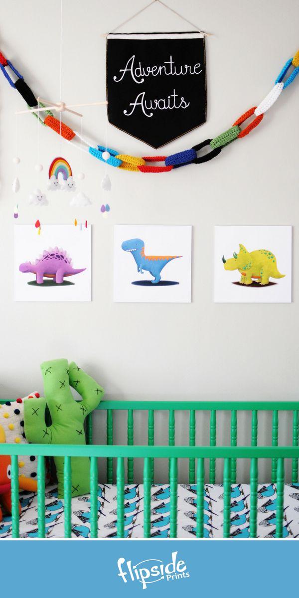 Flipside Prints | Colorful dinosaur  wall art for modern boys bedroom, playroom or nursery