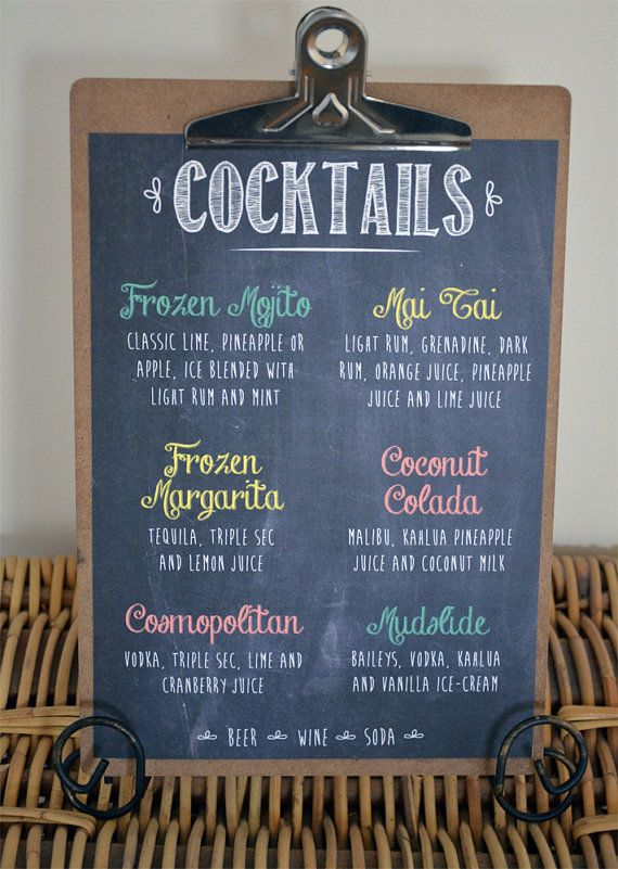 Wedding Chalkboard Cocktails Menu By Wanderlustweddings On