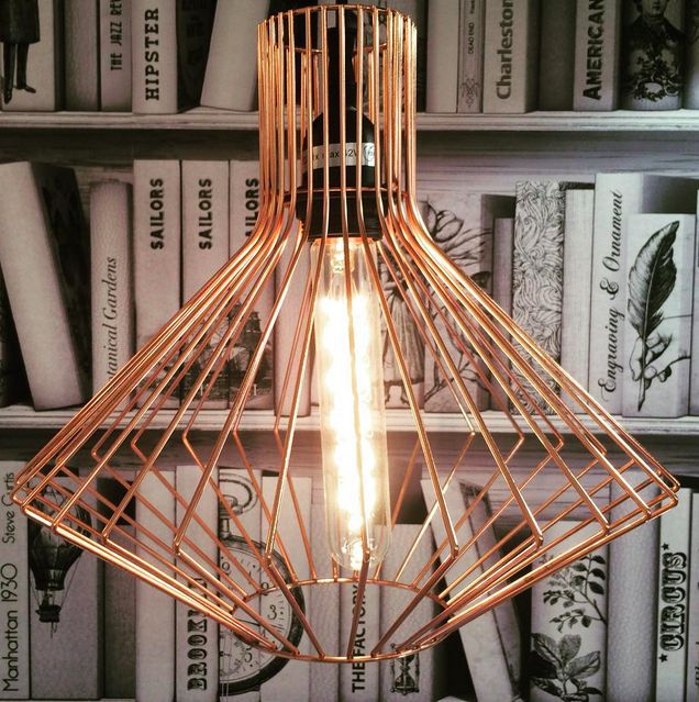 17 best images about luminaires on pinterest copper for Suspension luminaire cage