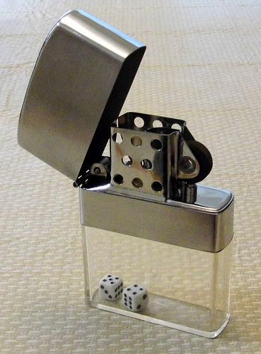 Vintage Large Cigarette Lighter, 6.5 Inches High, Clear Fuel Compartment with Dice, Made in Japan.