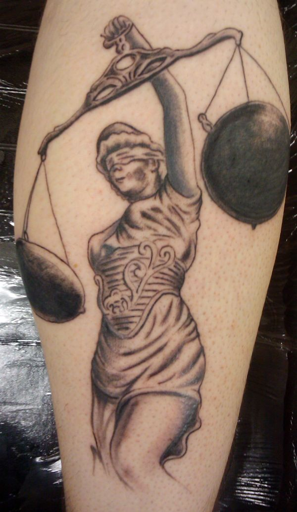 justice scales tattoo | Lady Justice tattooed for Ken