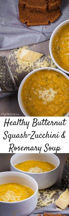 Healthy Butternut Squash-Zucchini and Rosemary Soup #squashsoup #soupsandstews #soupsunday