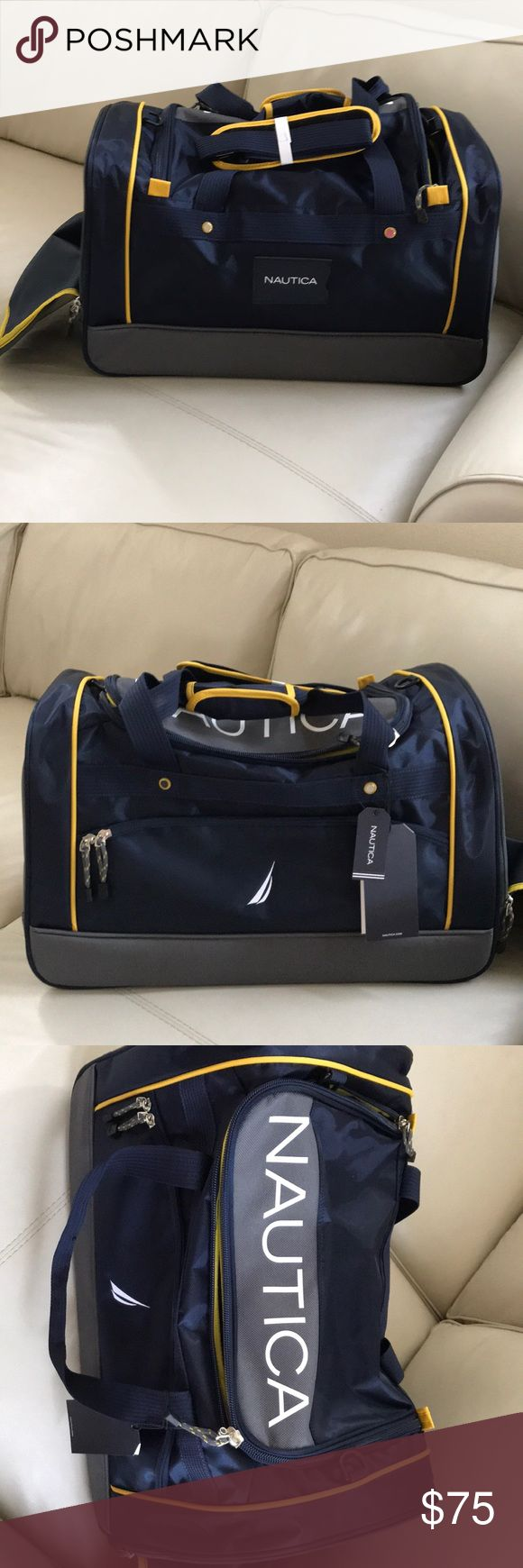 """Nautica sports travel athletic carry duffle bag From the nautical monitor collection, this new with tags ($240 retail) athletic bag / travel carry Duffle is the perfect piece of lightweight luggage. Features a side loading pocket for separating laundry or gear.   22"""" x 13"""" x 12"""" Grey /Navy with yellow and white accents  2372C01 NT monitor 22duf Gorgeous sports bag and will ship compacted. Can provide additional photos upon request  Unisex men's or women's but I think it's a bit more on he…"""
