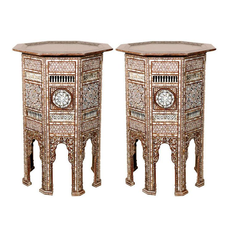 19th Century Moorish Ottoman Mosaic Syrian Work Pedestal.