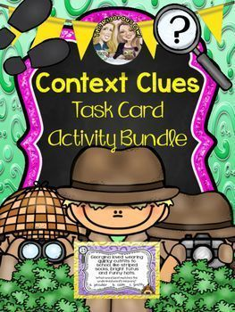 Want an engaging activity that provides a ton of exposure to Context Clues? This Task Card Activity pack has it all! Your students will MASTER Context Clues while having fun!!! Even better, this Context Clues Task Card Bundle uses high level Character Traits, so students are discovering MEANINGFUL vocabulary at the same time!What's Included?32 Task Cards in allTask Cards use 2 different questioning techniquesFun Recording Sheet that motivates students to want to find out which detective solv