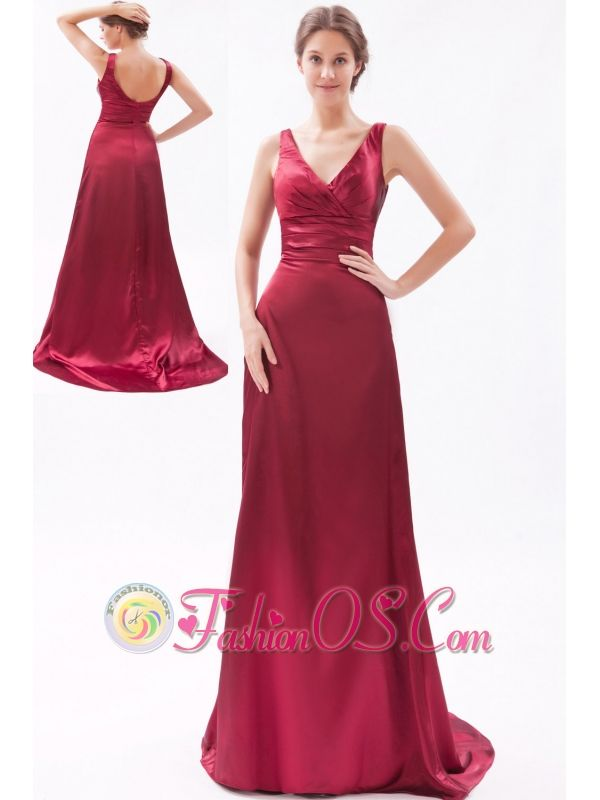 Red Column V-neck Brush Train Taffeta Ruch Bridesmaid Dress- $119.45  http://www.fashionos.com  http://www.facebook.com/quinceaneradress.fashionos.us  If you are looking for one style to show off your slim curves, this red prom dress is a your perfect choice. It features a V-neck, same V style in the back that show the beauty of your back. The stunning bodice is encrusted with two wide straps decorated by exquisite ruchings, while the floor length skirt flows freely to flatter most figures.