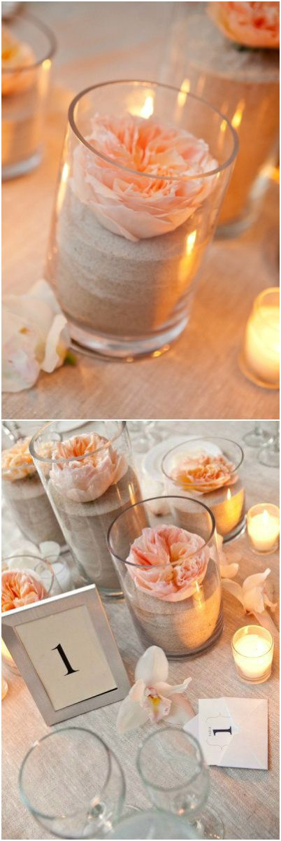 Tablescape ● Centerpiece ● Simple  Elegant, sand  a single flower