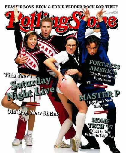 Cheri Oteri, Will Ferrell, Molly Shannon & Chris Kattan. Rolling Stone Dec.1997- Michael and I were BORN to be the Spartan cheerleaders for Halloween someday.  It's a classic.  I have been told I look (and act) like Cheri.