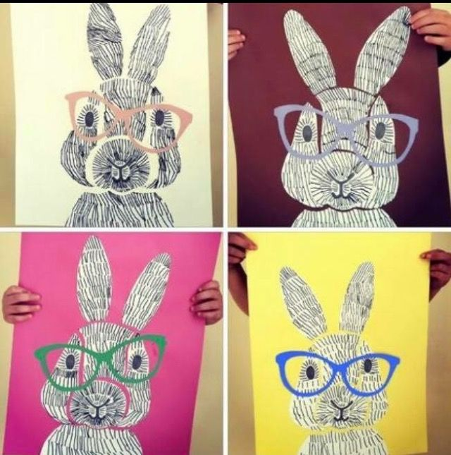 Rabbits w glasses... created from line drawings on cut paper, collaged back together