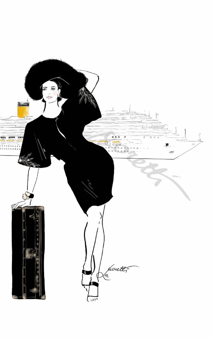 """""""Cruise Chic detail: the black is definitely the most chic color ever. For any season, anywhere - with a touch of gold, a zing of colour - is ever needed in the way of evening clothes."""" Illustration by Nadia La Moretti"""