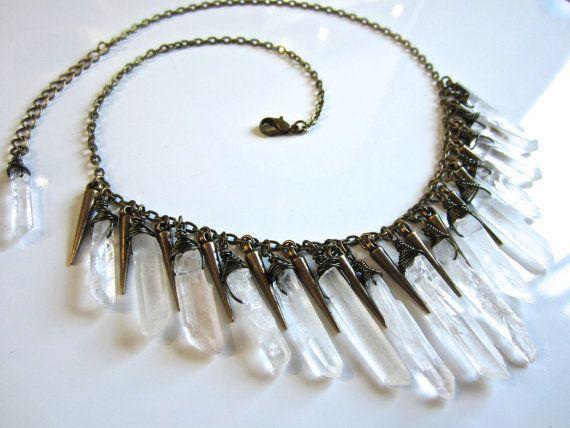 ishtar - raw quartz statement bib necklace - crystal spikes necklace - raw crystal jewelry