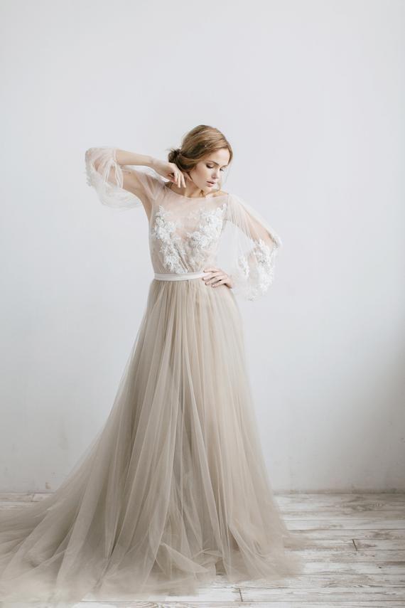 Brilliant A-line wedding dress LINDA with long train by RARA AVIS • Exclusive wedding dress • Haute