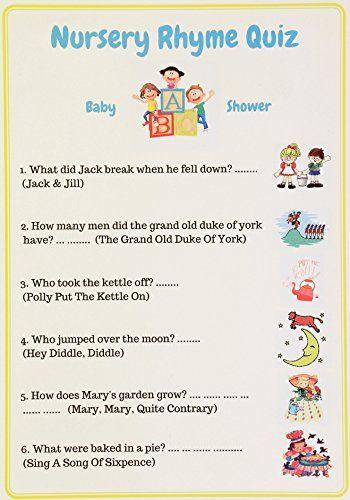 Baby Shower Games Nursery Rhyme Quiz. Unisex, Pack Of 10 ... Https