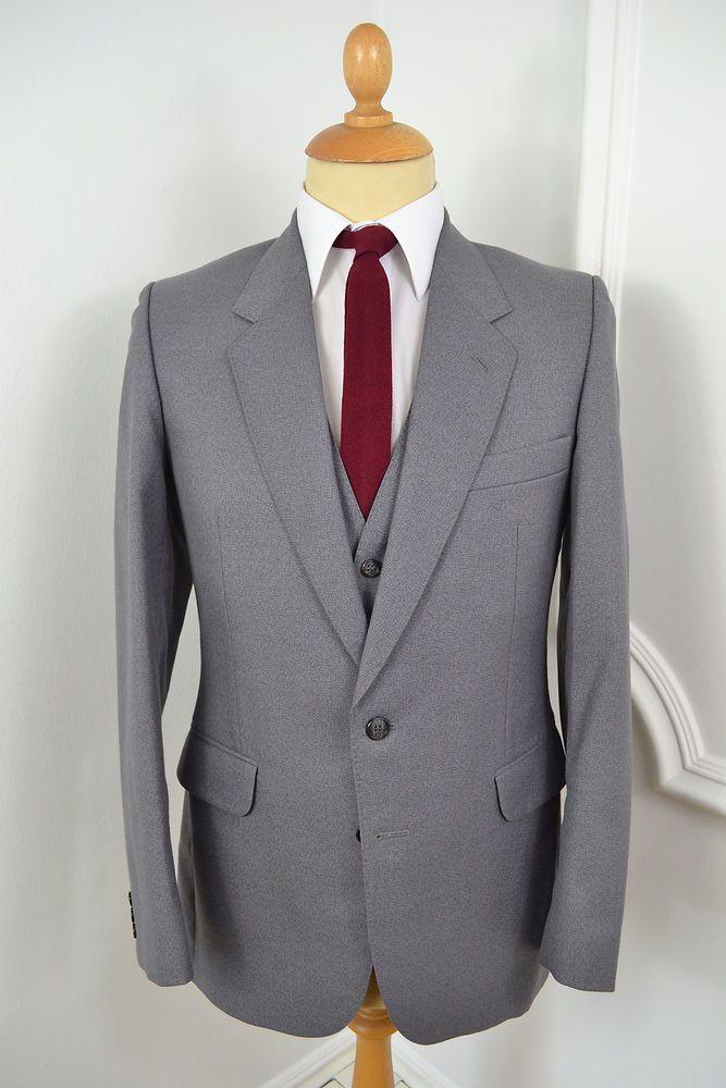 Vintage mens Suit, 70s Mens Suit, Gray Suit, men clothing, Wool Suit, 1970 vintage suit, 1970s wool suit, mens formal, Suits, gray mens suit
