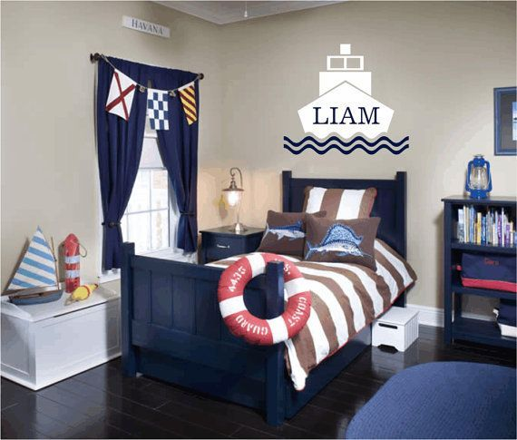 The dark blues and white are beautiful. For the water- loving person. #bedroom