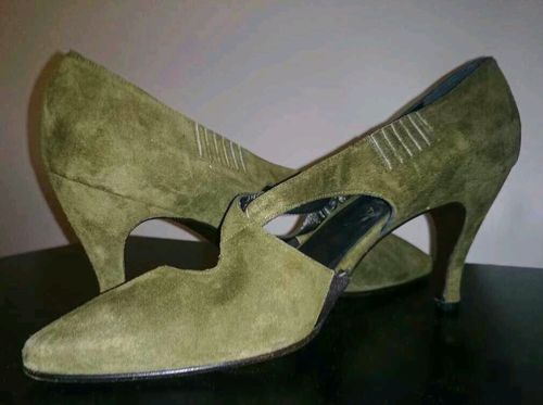 PETRA Firenze Ladies Shoes Olive Suede Size Eur 37.5 US 6.5 Made In Italy