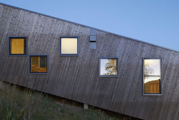 Architectural, The Reflections House In The Mirror Of Steep Slove: Cool Three Identical Homes Taking Advantage of a Steep Slope in Sweden