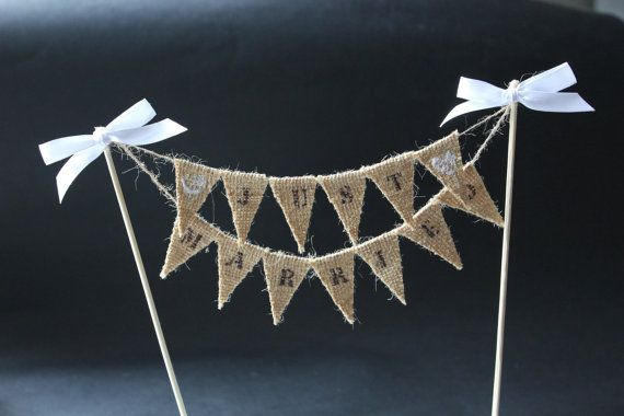 mini bunting wedding cake topper just married wedding cake topper cake banner with burlap 17390