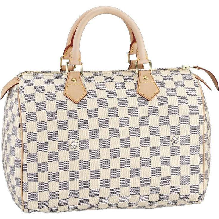 Authentic Louis Vuitton Speedy 30 Damier Azur Canvas Handbags N41533