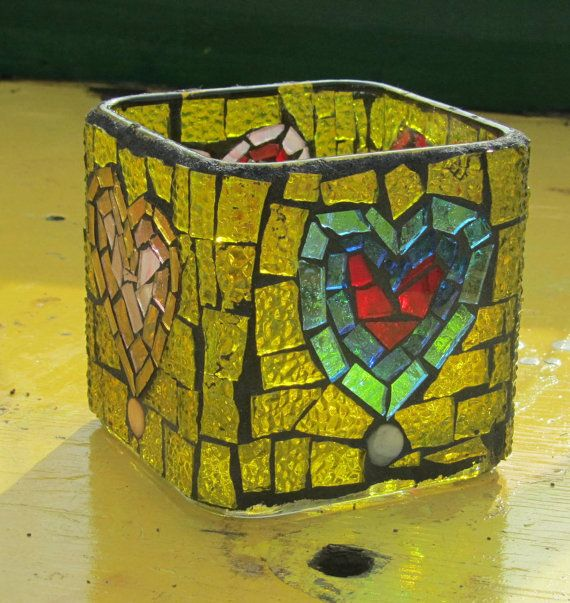 Colorful Hearts  Stained Glass Mosaic Candle by HildeMosaics, $21.00