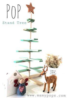 PopStand Tree Árbol de Navidad de madera hecho a mano personalizado. Plegable. Se puede usar con adornos, velas o como stand para cupcakes
