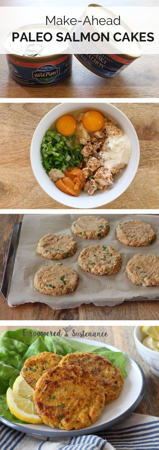 Make-ahead paleo salmon cakes