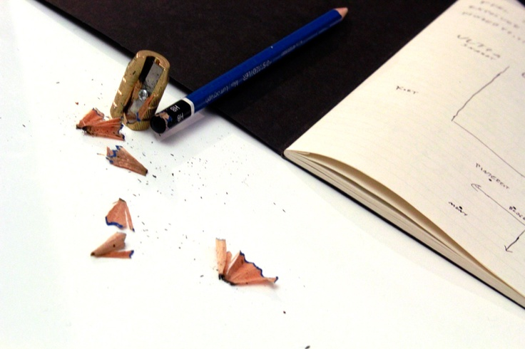 Some Content Creative tools. Pencil with sharpener. Muji note book. Dirt.