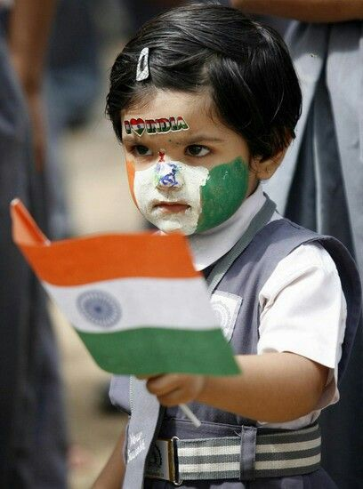 Girl with indian flag