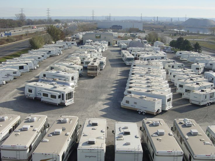 An aerial view of our sales lot! We offer acres of new and used motorhomes, fifth wheels and trailers. We also offer RV rentals, RV service and RV parts.