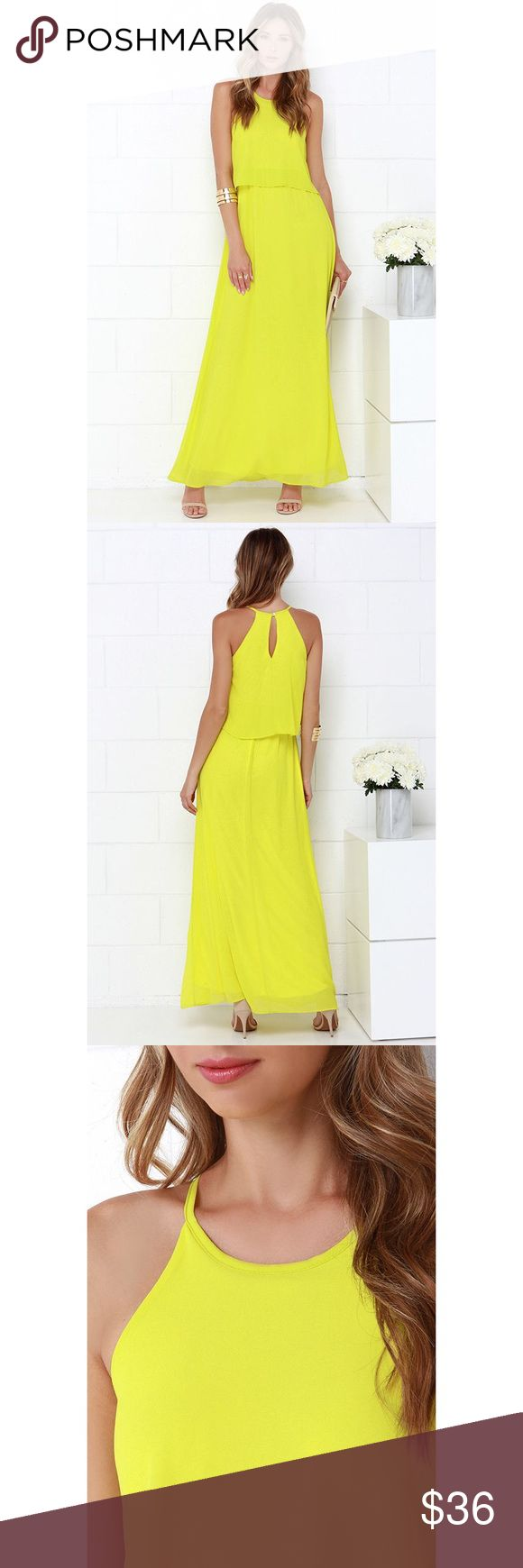 Dee Elle Hue are Lovely Chartreuse Maxi Dress Your best look is yet to come, with a day or night spent in the Dee Elle Hue Are Lovely Chartreuse Maxi Dress! Woven poly Georgette forms a high, halter neckline and fluttering flounce that falls over the fitted waist of this stunning dress. The dreamy maxi skirt completes this elegant ensemble. Back keyhole has top button closure. Fully lined. 100% Polyester. Hand Wash Cold. Made with Love in the U.S.A. Lulu's Dresses Maxi