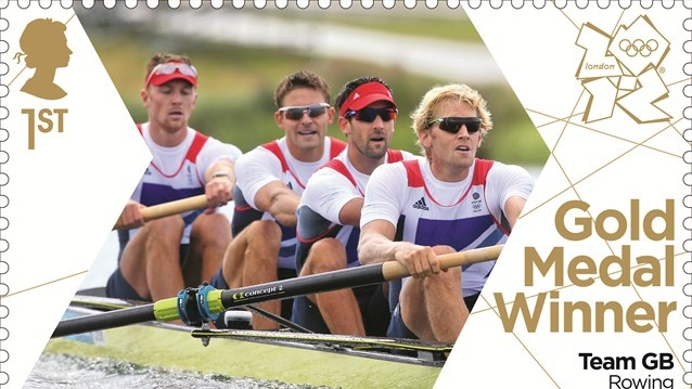 Royal Mail has issued a gold medal stamp to celebrate the victory of Team GB's Alex Gregory, Pete Reed, Tom James and Andrew Triggs Hodge in the men's Rowing Fours at Eton Dorney on Day 8 of the Games.