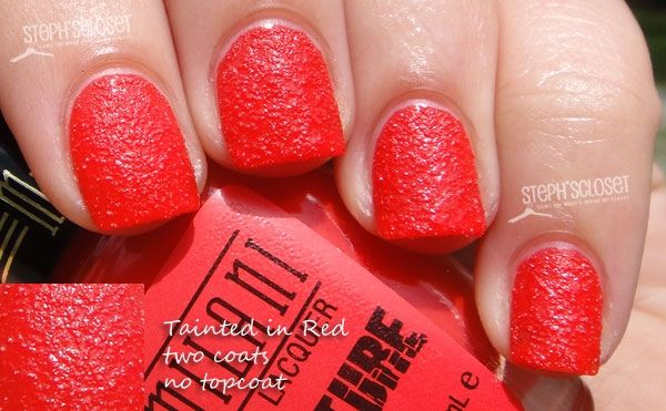 Milani Tainted in Red Texture Nail Polish