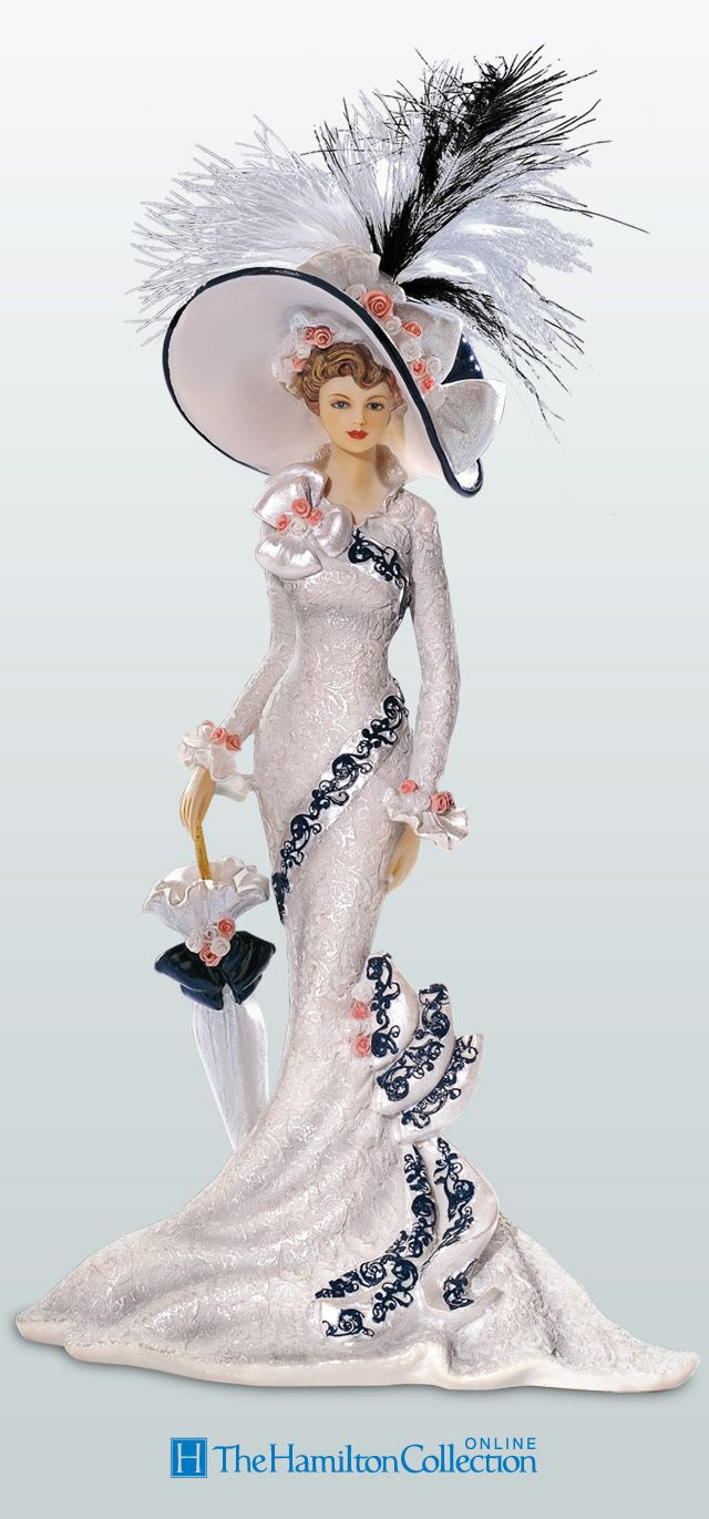 Show off your love of vintage fashion with this posh collection of Thomas Kinkade Victorian lady figurines: