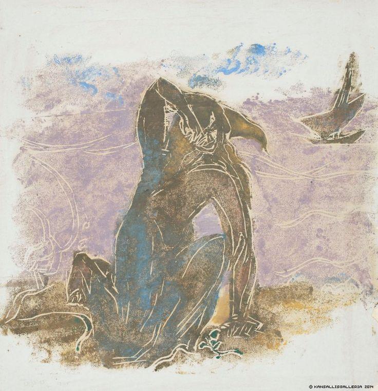 Ellen Thesleff, Nainen rannalla, 1925, väripuupiirros