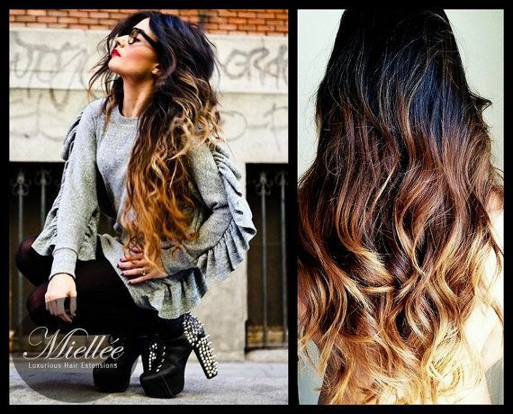 26 Clip In Hair Extensions / SUNRISE OMBRE / Brazilian door Miellee, $295.00