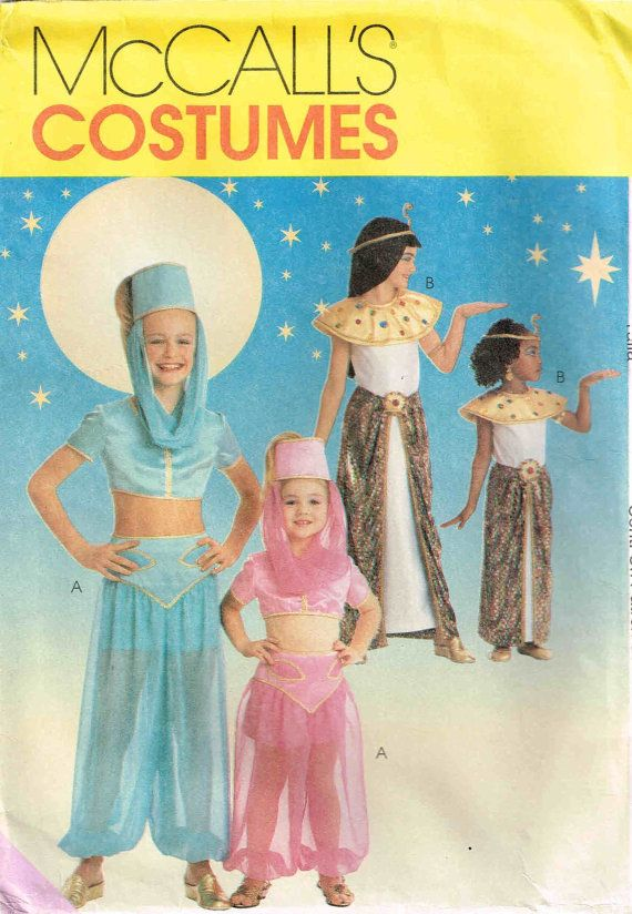 Girls Size 3 4 and Genie and Cleopatra Halloween Costume Sewing Pattern McCalls 9451 by PeoplePackages