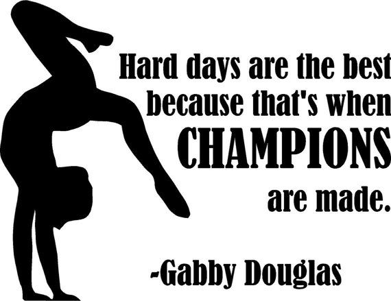 "Gabby Douglas Gymnastics Wall Decal | Girl's Bedroom Gymnast Quote 20""x16"""