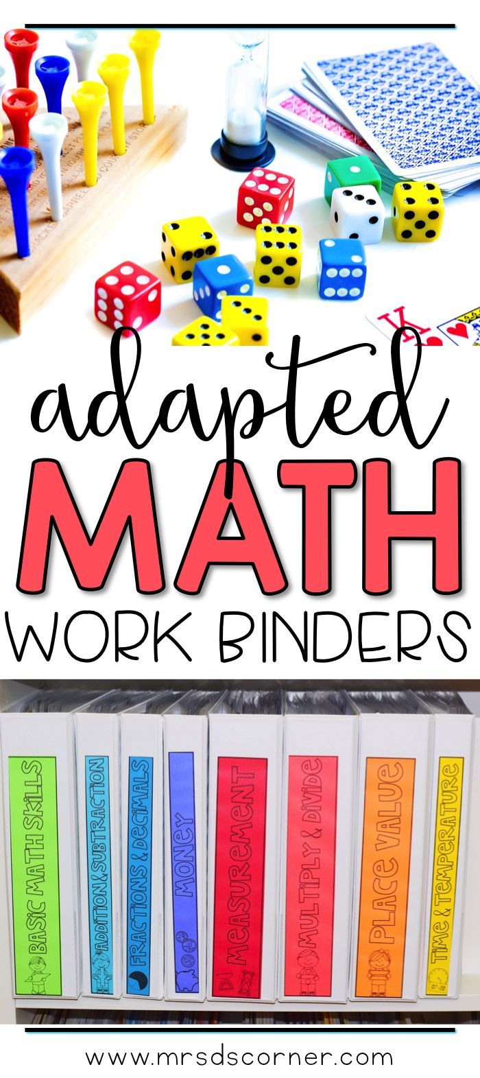 Functional and differentiated skill work that covers mathematics standards-aligned topics for grades K-3, this adapted math work binder is the perfect addition to any elementary special education classroom. Includes topics on: Basic Skills, Place Value, Money, Add & Subtract, Multiply & Divide, Fractions & Decimals, Time & Temperature, and Measurement... and so much more! Adapted Work Binders only at Mrs. D's Corner.