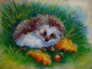 Рисуем шерстью забавного Ежика в осеннем лесу - Ярмарка Мастеров - ручная работа, handmade