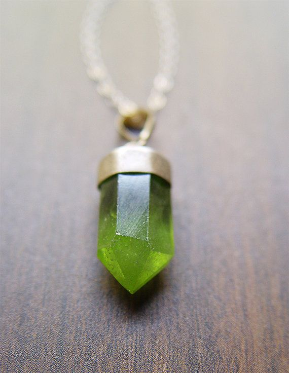 Peridot Point Necklace Sterling Silver Green Mineral