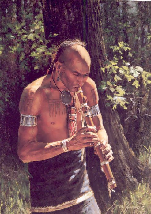 Painting of eastern Native American warrior playing a native flute - By Robert Griffing