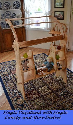 Wooden Waldorf David's Single Playstands with Canopy