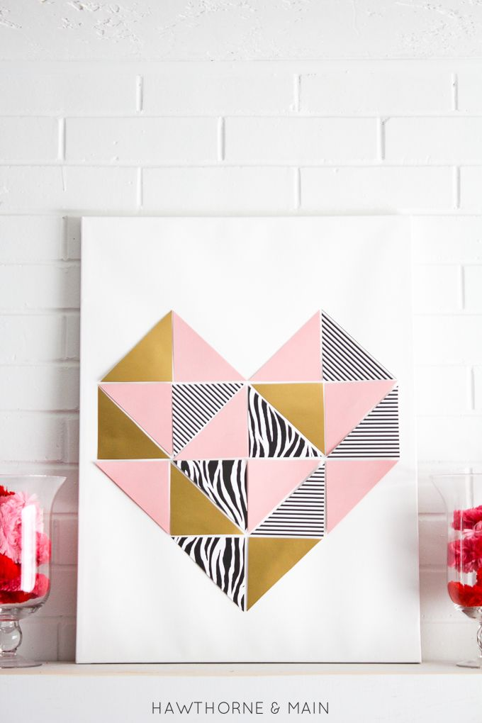 DIY Geometric Heart Tutorial. This would be so cute in a nursery and I could customize it using the nursery colors. Totally pinning!